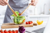 cropped shot of man in apron cooking vegetable salad