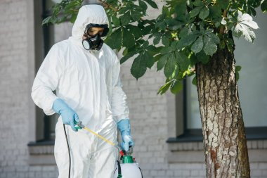 pest control worker spraying pesticides on street