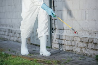 cropped image of pest control worker spraying pesticides with sprayer on building wall