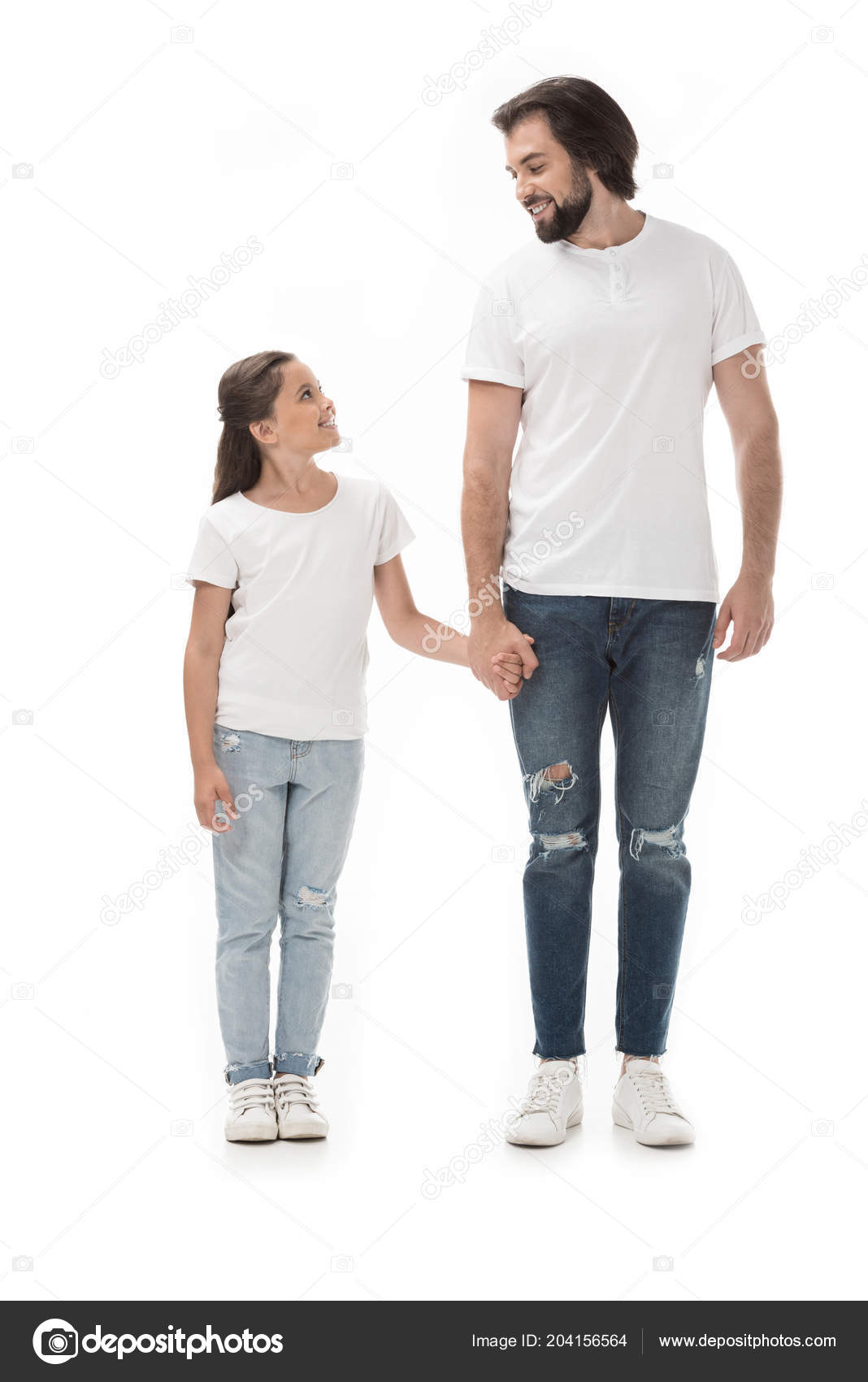Happy Father Daughter Holding Hands Looking Each Other Isolated