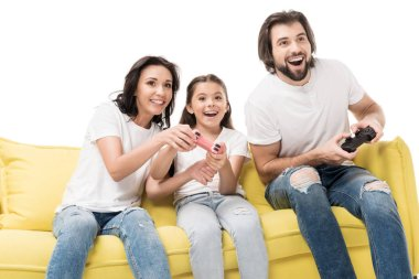 Portrait of happy family playing video games together isolated on white stock vector