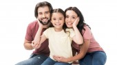Fotografie Porträt der glücklichen Familie Blick in die Kamera, die isoliert auf weiss