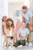 Fotografie Eltern und Kinder palming angenommen Mops Hund im Tierheim Tiere