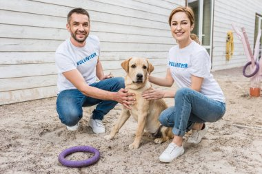 smiling volunteers of animals shelter squatting and palming labrador