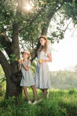 Fotografie attractive blonde mother and daughter holding appples and posing near tree with sunlight