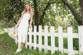 elegantní žena s ovoce v proutěném košíku stojící poblíž bílý plot v zahradě