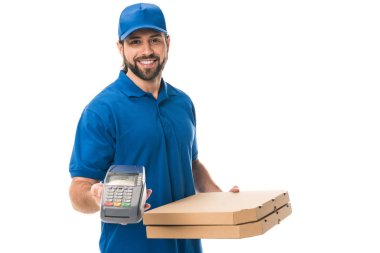 happy delivery man holding boxes with pizza and payment terminal isolated on white