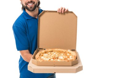 Cropped shot of smiling delivery man holding pizza in boxes isolated on white stock vector
