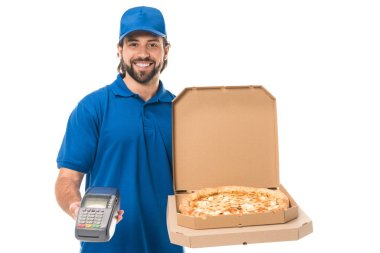 happy delivery man holding pizza in boxes and payment terminal, smiling at camera isolated on white