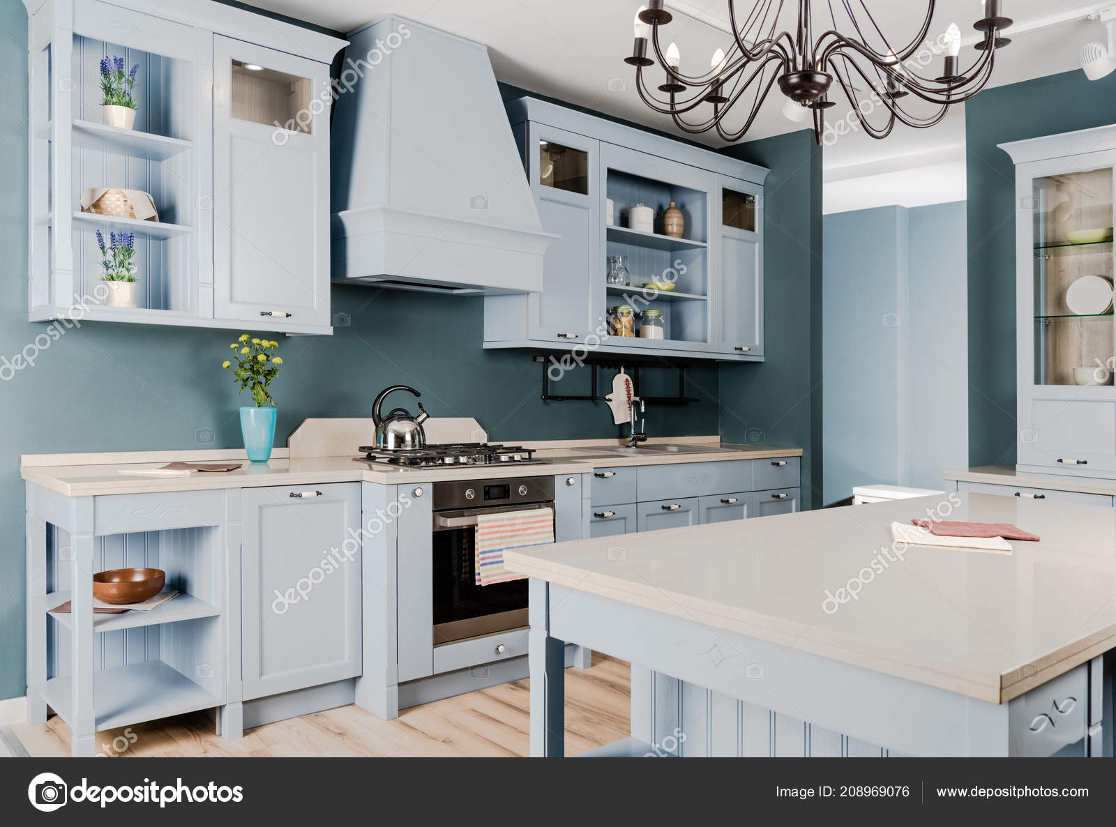 wooden furniture for kitchen. Interior Modern Light Kitchen White Wooden Furniture Potted Plants Chandelier \u2014 Stock Photo For