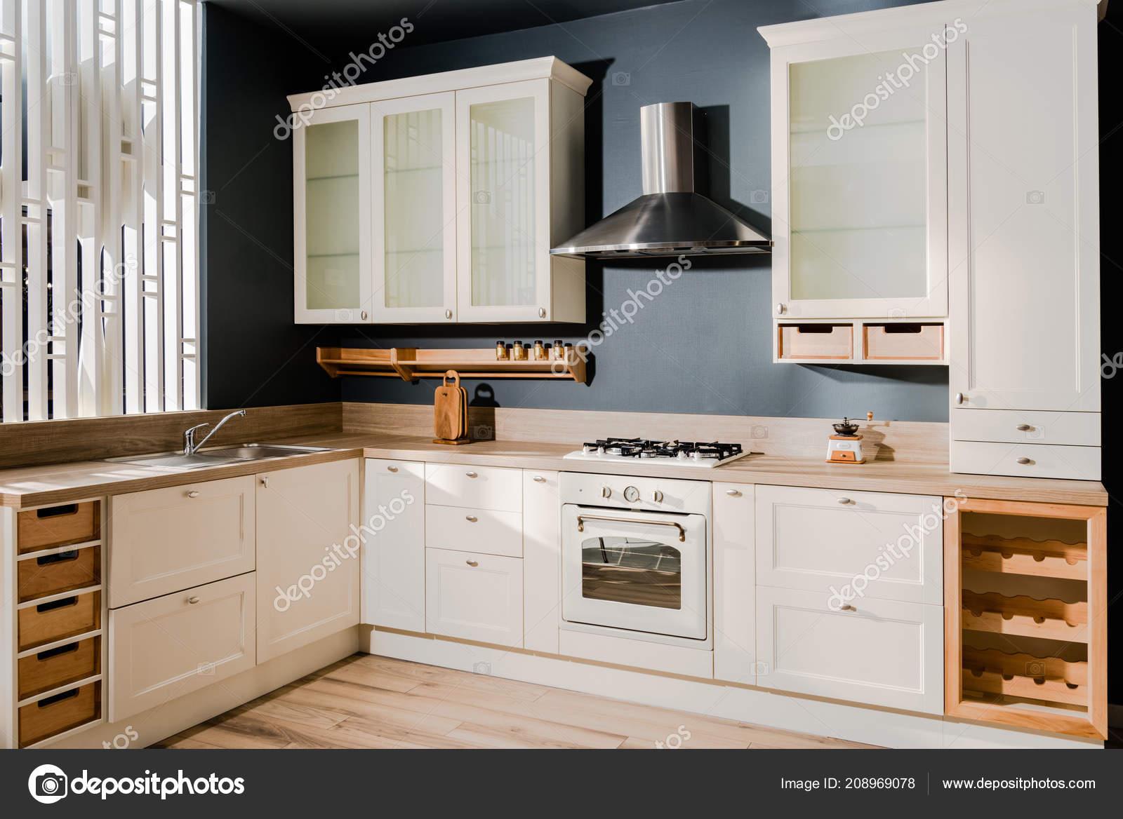 Wnętrza Nowoczesnych Kuchni światło Białe Drewniane Kuchnia