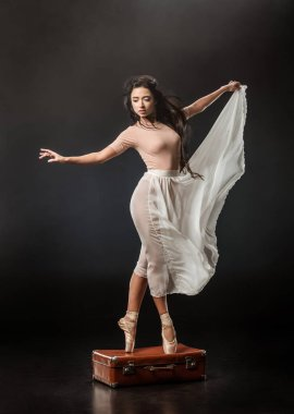 beautiful ballerina in white skirt posing on retro suitcase on dark background