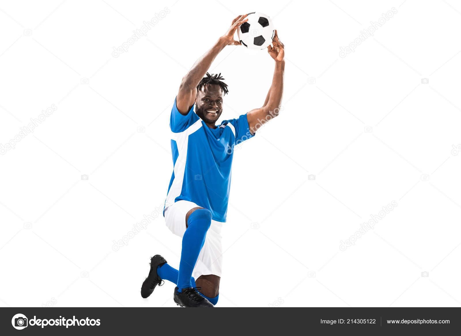 fdb74f9d8 Jogador Futebol Americano Africano Feliz Segurando Uma Bola Sobre Cabeça —  Fotografia de Stock