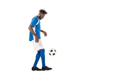 Athletic african american sportsman playing with soccer ball isolated on white stock vector