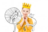 adorable boy in yellow crown with please gesture, isolated on white with drawn lion and bird