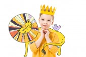 adorable boy in yellow crown with please gesture, isolated on white with colorful drawn lion and bird