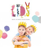 sister hugging brother, kids in yellow paper crowns, isolated on white with kids - enjoy life while you are young lettering