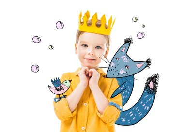 adorable boy in yellow crown with please gesture, isolated on white with drawn fox and bird