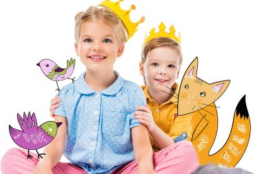 adorable children in yellow paper crowns, isolated on white with drawn imaginary fox and birds