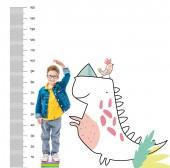 Fotografie chlapce, stojící na hromadu knih, vyšší, izolované na bílém s imaginární dinosaura a růstem opatření