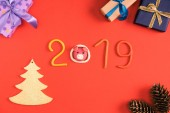 top view of 2019 symbol, pine cones and christmas gifts on red