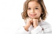 Fotografie portrait of adorable child in white bathrobe isolated on white