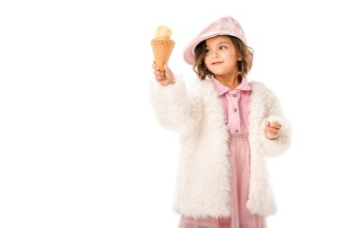 Beautiful happy child in fur coat with ice cream isolated on white stock vector