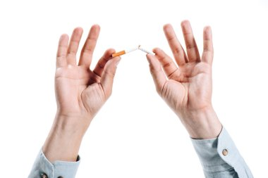 cropped image of man in shirt breaking unhealthy cigarette isolated on white