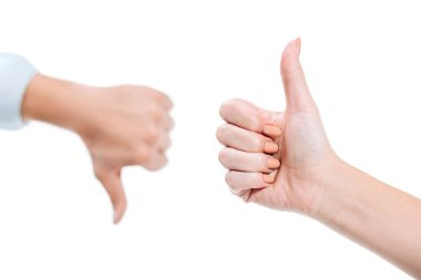 Selective focus of woman and man showing thumb up and thumb down isolated on white stock vector