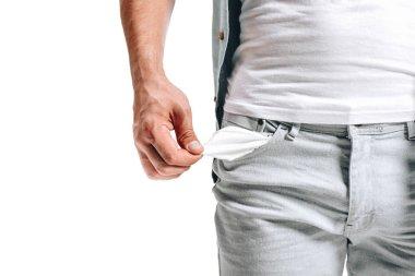 cropped image of man showing empty pocket isolated on white