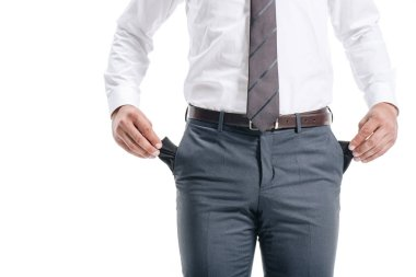 cropped image of businessman man showing empty pockets isolated on white
