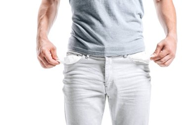 cropped image of man showing empty pockets isolated on white