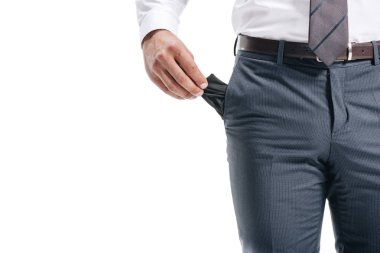 cropped image of businessman man showing empty pocket isolated on white