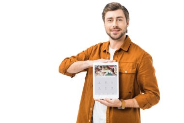 happy man showing digital tablet with foursquare on screen isolated on white