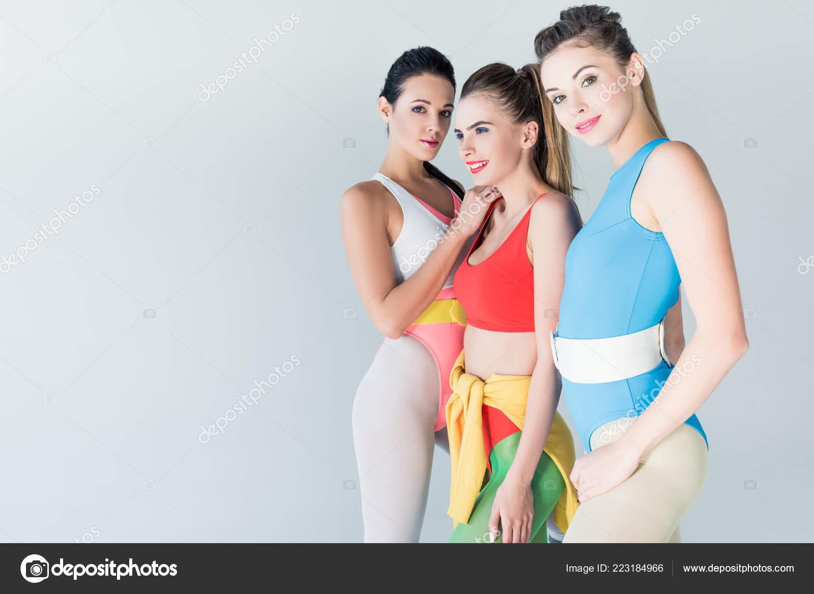 Girls in bodysuits pics Beautiful Sporty Girls Bodysuits Standing Together Isolated Grey Stock Photo By C Edzbarzhyvetsky 223184966