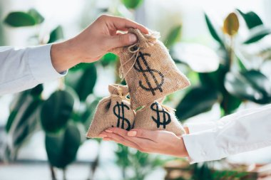 partial view of people holding sackcloth bag with dollar sign in hands