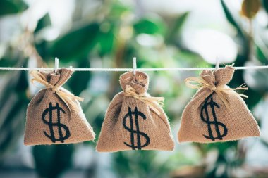 sackcloth bags with dollar sign hanging on rope