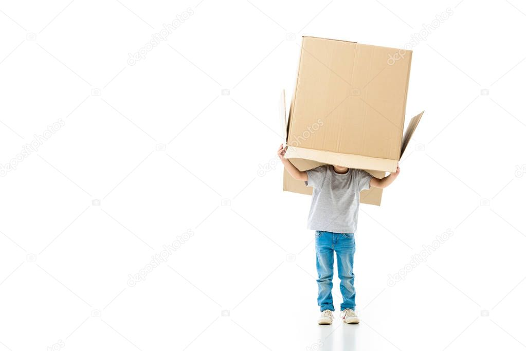 Little boy hiding in the paper box isolated on white