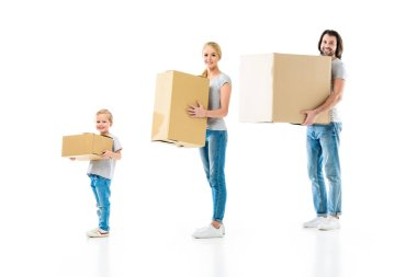 Happy family holding boxes of different size isolated on white stock vector