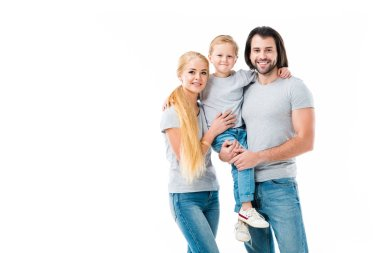 Amazing family hugging and smiling at camera isolated on white