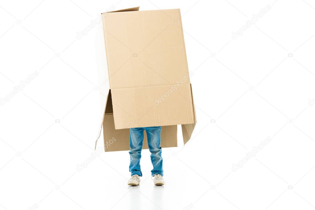 Child hiding in the paper box preparing for moving isolated on white