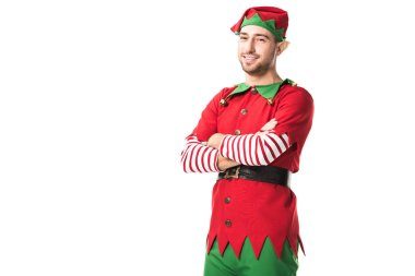 Man in christmas elf costume with arms crossed looking at camera isolated on white stock vector