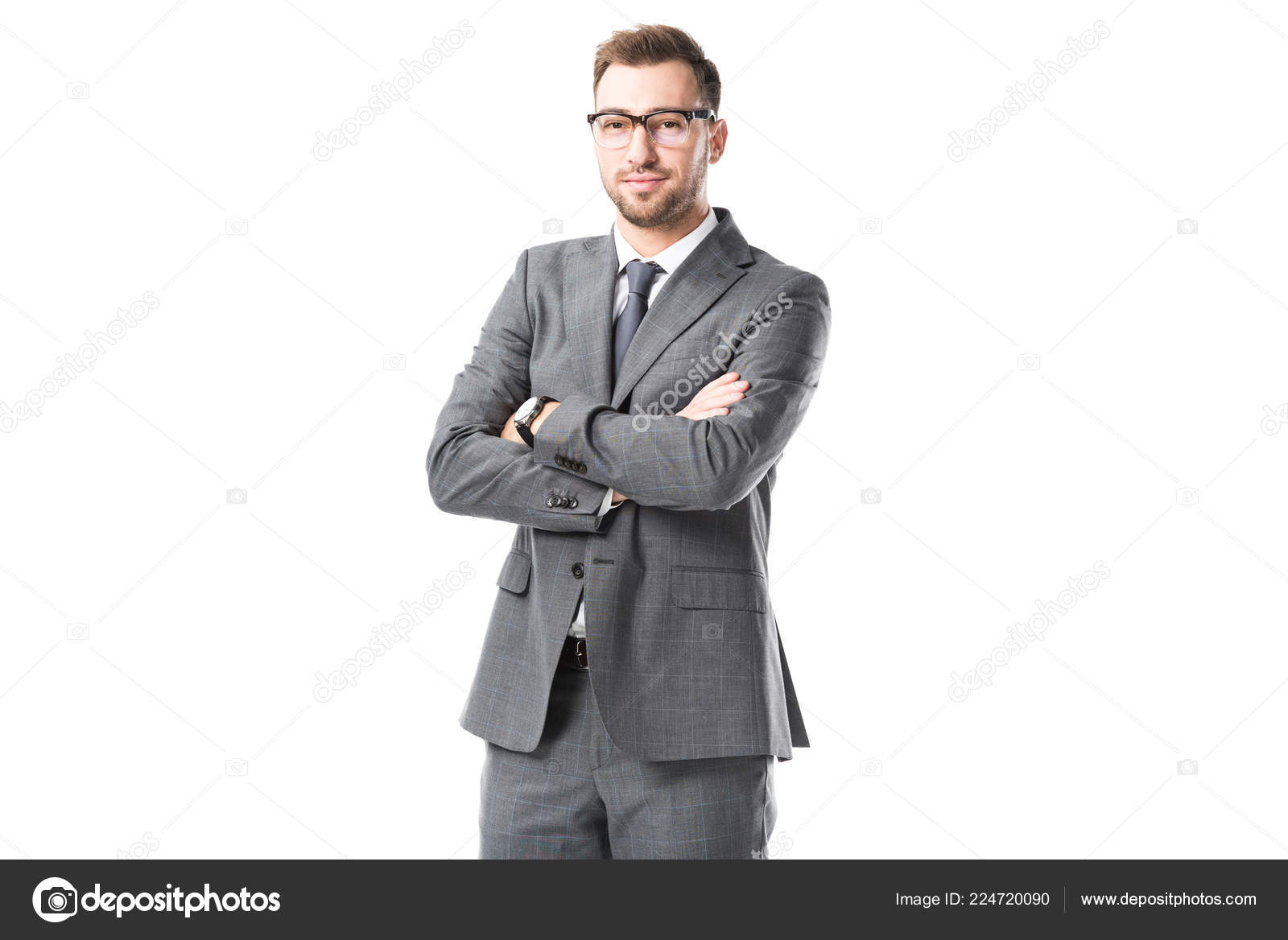 Adult Businessman Suit Arms Crossed Isolated White Stock