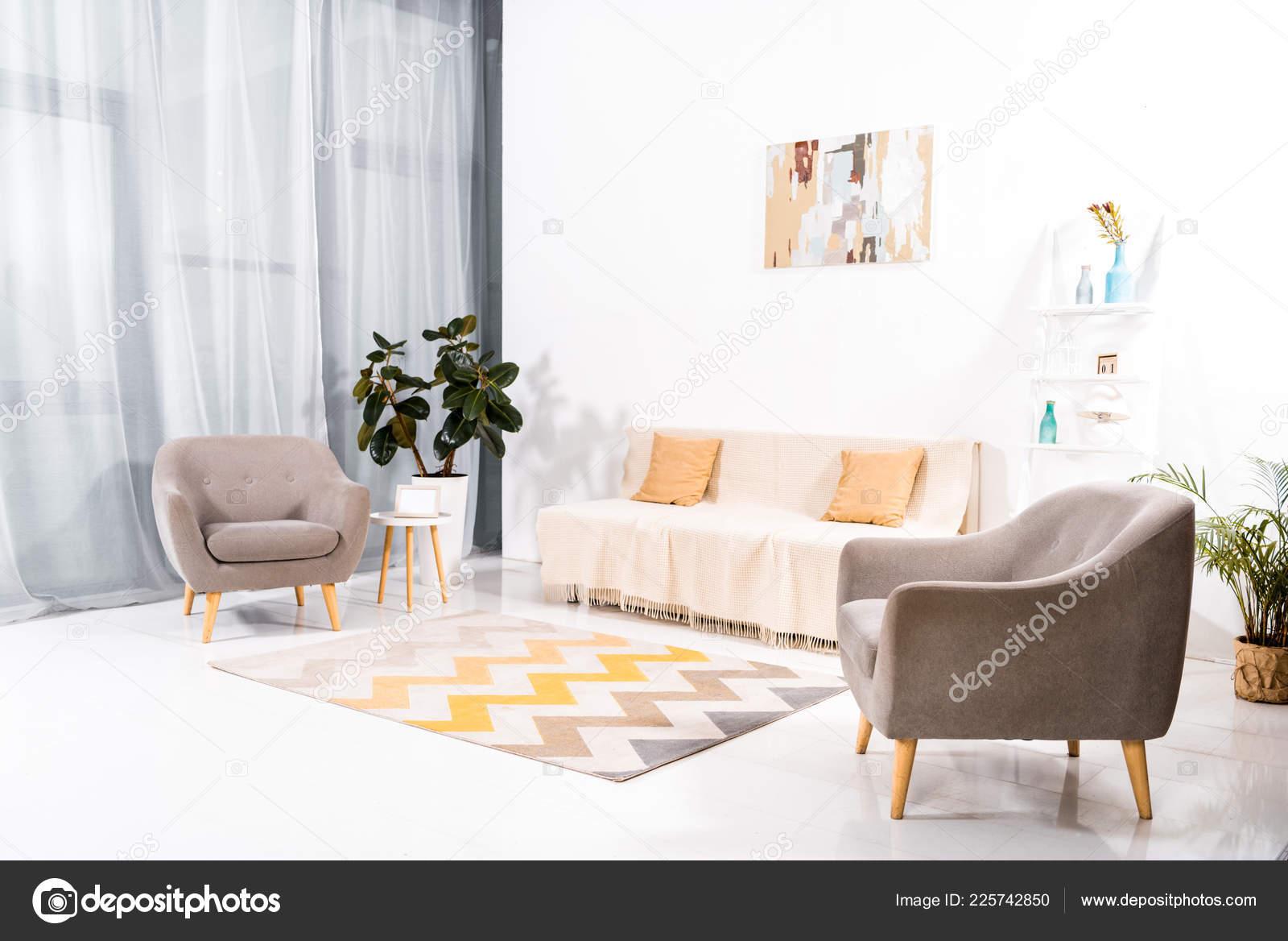 Intérieur Salon Moderne Avec Tapis Canapé Peinture Sur Mur ...