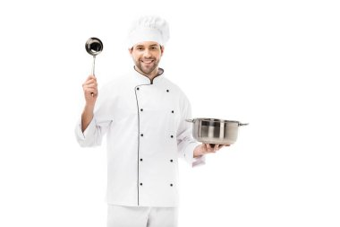 Happy young chef with cooking pot and ladle isolated on white stock vector
