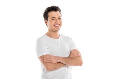 Portrait of handsome smiling man with crossed arms looking at camera isolated on white stock vector