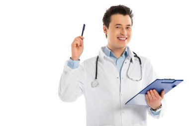 Male doctor looking at camera, holding diagnosis and pointing with pen isolated on white stock vector