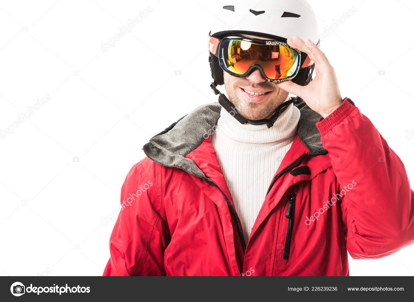 Hombre Casco Poner Chaqueta Adulto Rojo Gafas Esquí Sonrientes rHrwRq