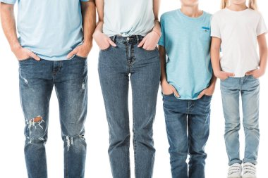 Cropped view of family standing in jeans with hands in pockets isolated on white stock vector