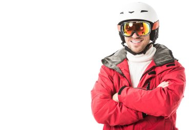 Handsome man in snowsuit smiling and looking at camera isolated on white stock vector